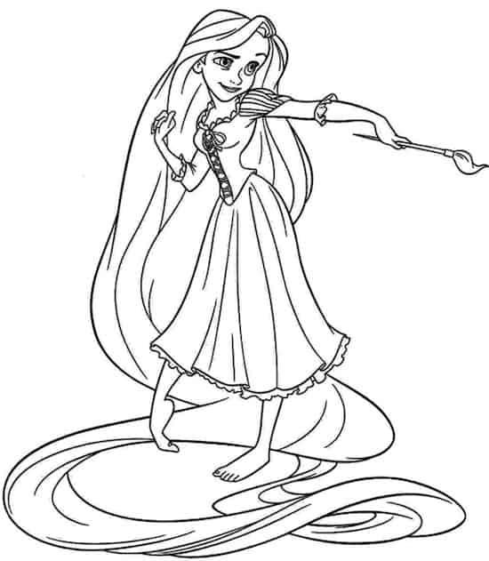 Principessa Rapunzel Che Dipinge Da Colorare Disegno Da Stampare