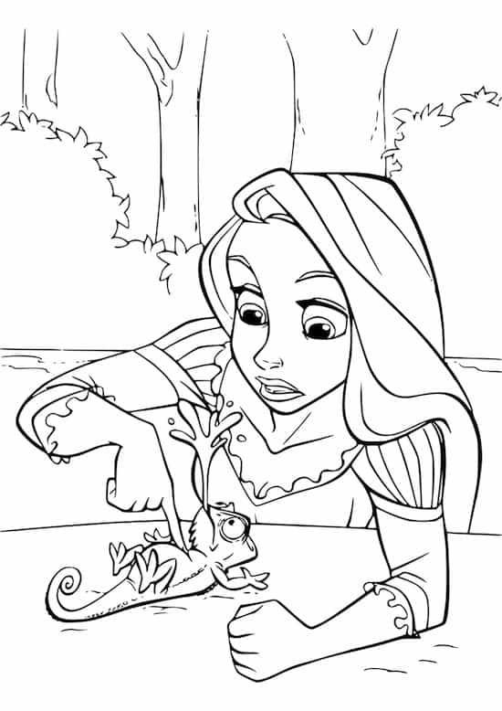 Disegno Di Rapunzel E Del Camaleonte Pascal Da Stampare E Colorare