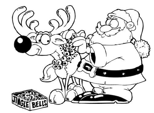Disegni Di Natale Particolari.Disegno Di Babbo Natale E La Renna Da Stampare Gratis E Colorare