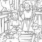 Gesù nella stalla da colorare