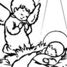 Gesù e l'angelo da colorare