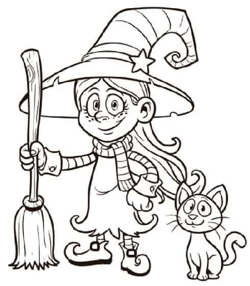 Befanina con gatto da colorare for Befana disegno da colorare
