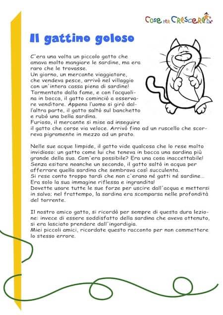 Il Gattino Goloso Storia Breve Per Bambini Da Stampare Gratis