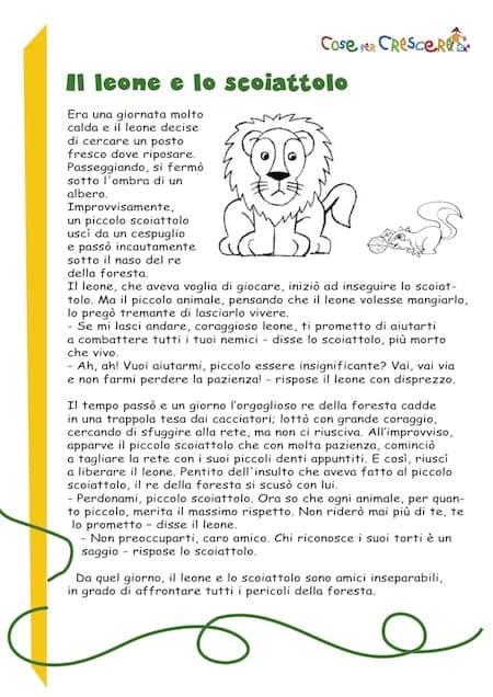 Il Leone E Lo Scoiattolo Storia Breve Per Bambini Favola Corta