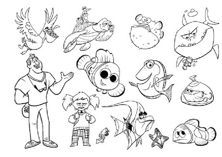 Disegno Di Tutti I Personaggi Di Nemo Da Colorare Da Stampare Gratis
