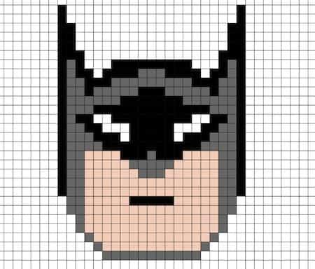 Disegno Di Batman In Pixel Art Da Stampare Gratis Con Modello Per