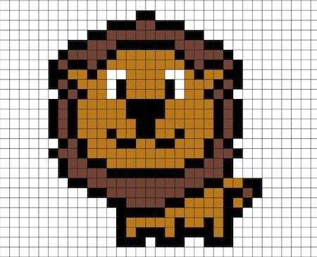 Disegno Di Leone In Pixel Art Da Stampare Gratis Per Bambini