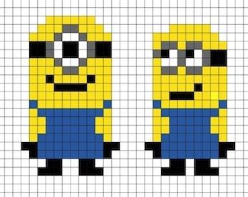 Disegno Di Minion In Pixel Art Con Modello Da Stampare Per Bambini