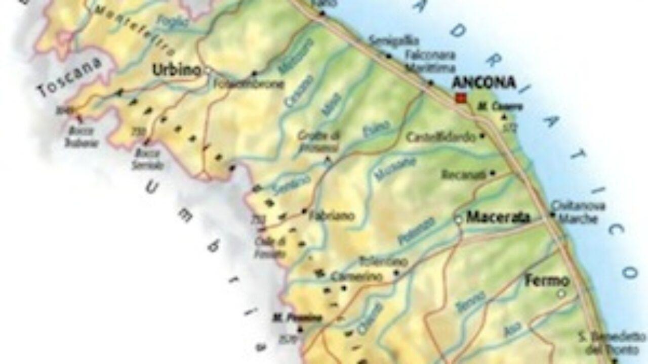Cartina Fisica E Politica Delle Marche.Cartina Fisica Delle Marche Da Stampare Gratis Per La Scuola Primaria