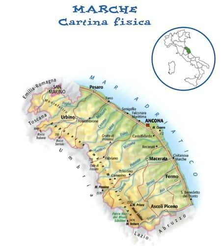 Cartina Dell Umbria Fisica.Cartina Fisica Delle Marche Da Stampare Gratis Per La Scuola