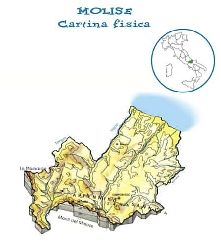 Cartina Regione Molise.Cartina Fisica Molise Da Stampare Gratis Scuola Primaria Carta Geografica
