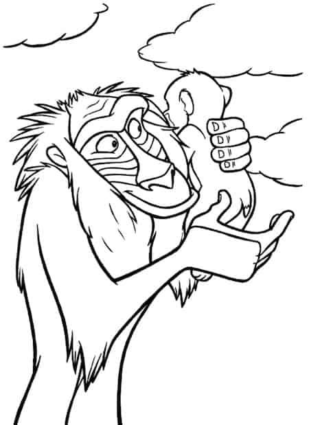 Disegno Di Rafiki E Simba Del Re Leone Da Stampare Gratis E Colorare