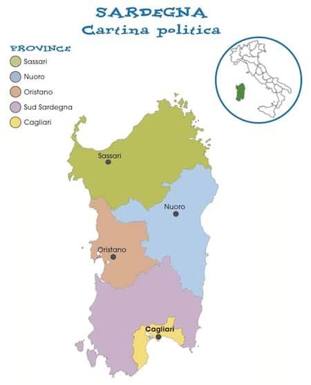 Cartina Sardegna Per Bambini.Cartina Politica Della Sardegna Da Stampare Gratis Per La Scuola Primaria