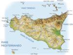 Cartina fisica della Sicilia