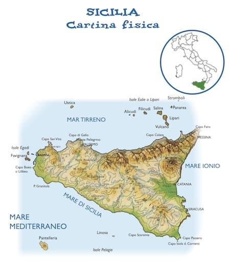 Immagini Cartina Fisica Sicilia.Cartina Fisica Della Sicilia Da Stampare Gratis Per La Scuola Primaria