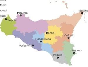 Regione Sicilia Cartina Politica.Cartina Politica Della Sicilia Da Stampare Gratis Per La Scuola Primaria