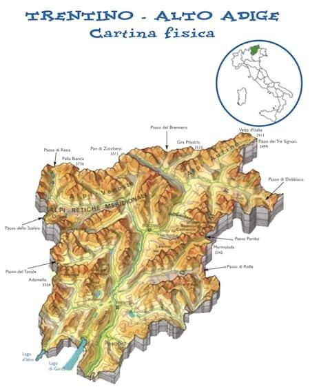 Cartina Geografica Muta Del Trentino Alto Adige.Cartina Fisica Trentino Alto Adige Da Stampare Gratis Scuola Primaria