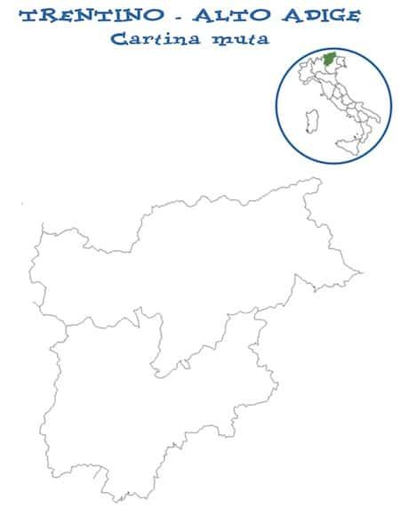 Cartina Geografica Muta Del Trentino Alto Adige.Cartina Muta Trentino Alto Adige Da Stampare Gratis Per La Scuola Primaria