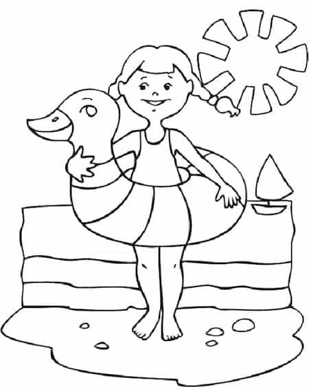 Disegno Di Bambina Al Mare Da Stampare Gratis E Da Colorare