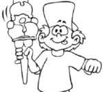 Bambino con gelato da colorare