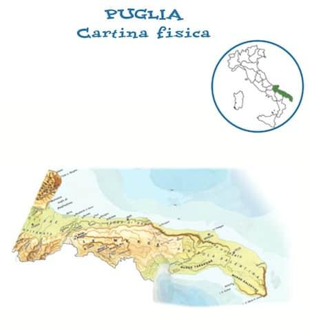 Cartina Geografica Della Puglia Fisica.Cartina Fisica Puglia Da Stampare Gratis Scuola Primaria Carta Geografica