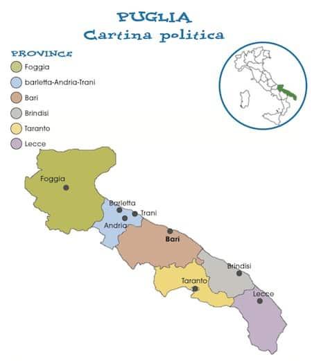 Cartina Puglia Con Province.Cartina Politica Puglia Da Stampare Gratis Scuola Primaria Carta Geografica