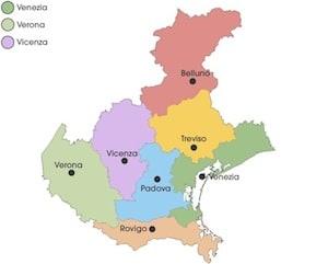Regione Veneto Cartina.Cartina Politica Del Veneto Con Province Da Stampare Gratis Scuola Primaria