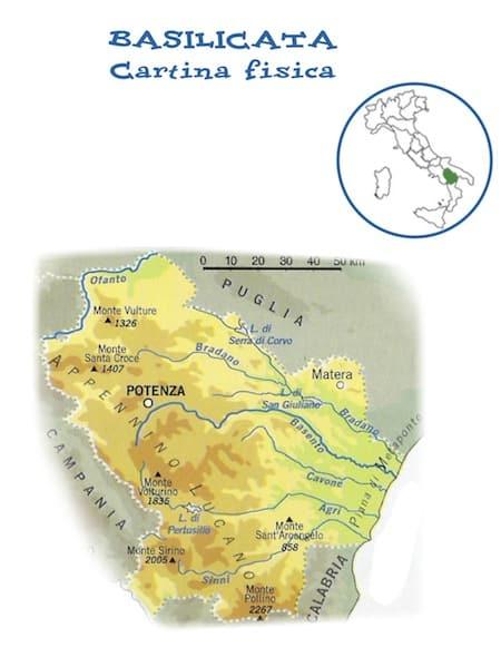 Metaponto Cartina Geografica.Cartina Fisica Della Basilicata Da Stampare Gratis Per La Scuola Primaria