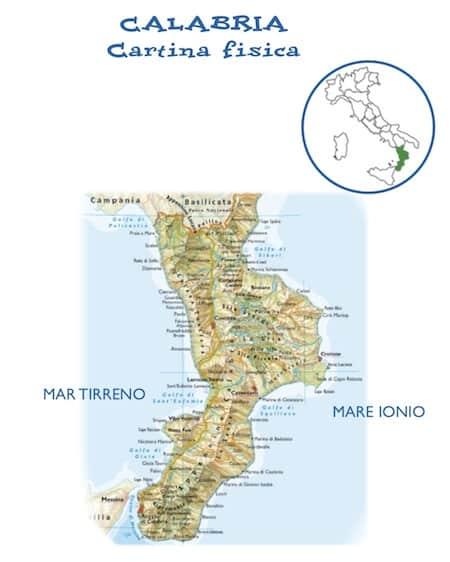 Cartina Della Calabria Ionica.Cartina Fisica Della Calabria Per La Scuola Primaria Da