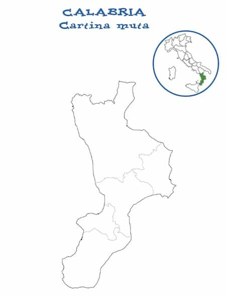Regione Calabria Cartina Politica.Cartina Muta Della Calabria Da Stampare Gratis Per La Scuola Primaria