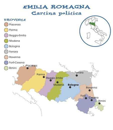 Province Emilia Romagna Cartina Politica.Cartina Politica Emilia Romagna Da Stampare Per La Scuola Primaria