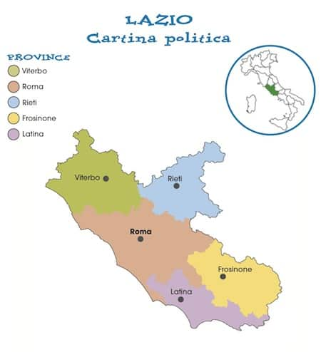 Cartina Lazio Politica.Cartina Politica Del Lazio Da Stampare Gratis Per La Scuola