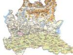 Cartina fisica della Lombardia