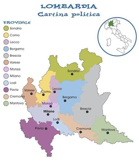 La Lombardia Cartina Fisica.Cartina Politica Lombardia Da Stampare Gratis Per La Scuola Primaria