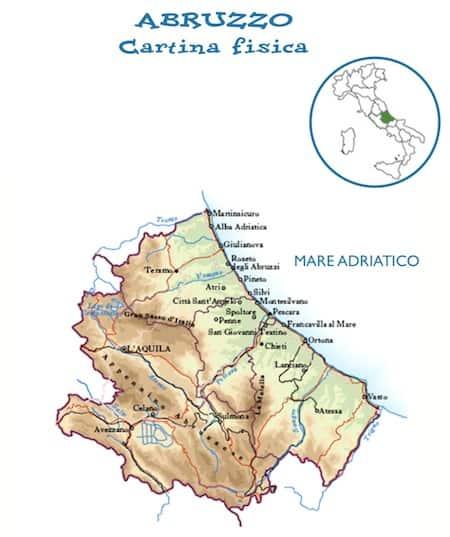 Abruzzo Cartina Geografica Dettagliata.Cartina Fisica Della Regione Abruzzo Da Stampare Gratis