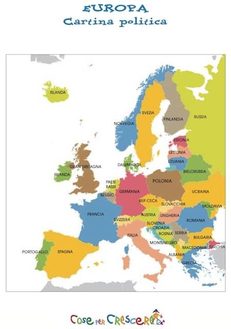 Cartina Dell Europa Geografica.Cartina Con Stati Europei Mappa Politica Dell Europa