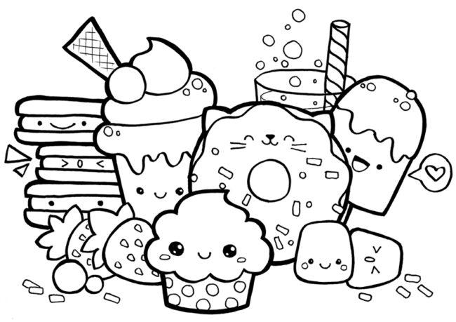 Disegno Di Cibo E Dolci Per Bambini Kawaii Da Stampare Gratis E