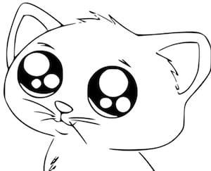 Disegno Di Gatto Per Bambini In Stile Kawaii Da Stampare Gratis E