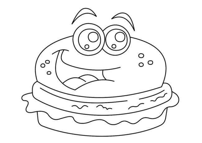 Disegno Di Hamburger Kawaii Da Stampare Gratis E Colorare Per Bambini