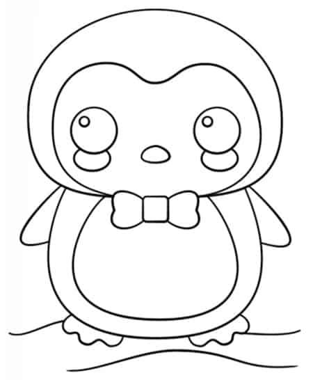 Disegno Di Pinguino Da Stampare Gratis E Colorare Stile Kawaii
