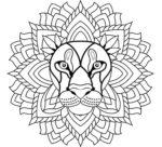 Leone: disegno mandala da colorare