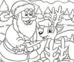 Disegno di Babbo Natale e le renne