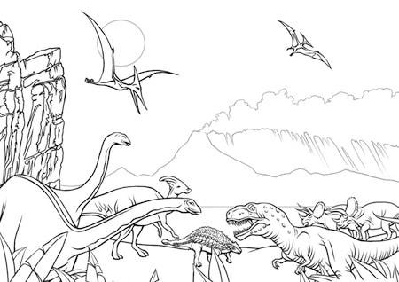 Disegno Di Dinosauri Da Stampare Gratis E Da Colorare Per Bambini