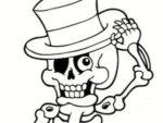 Disegno per Halloween: scheletro con cappello