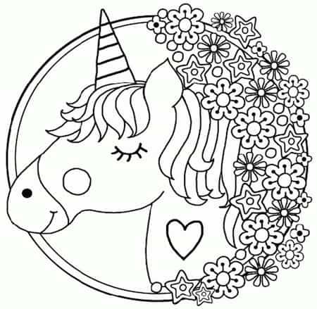 Disegni Da Colorare Per Bambini.Disegno Di Unicorno Per Bambini In Stile Mandala Da Stampare E
