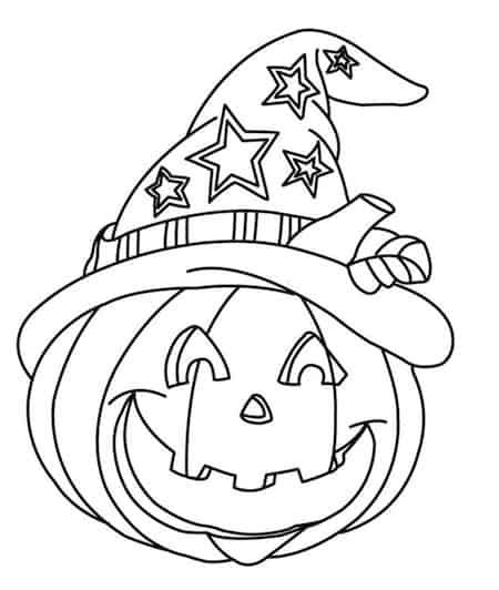 Disegno Bambini Da Stampare E Colorare Per Halloween Zucca E Cappello