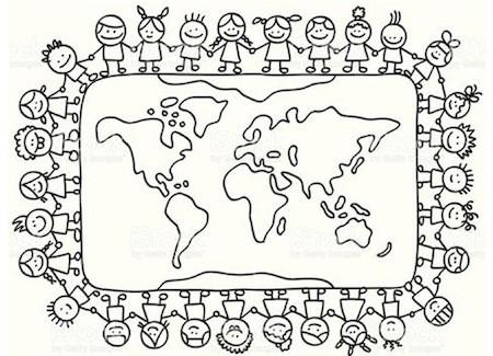 Disegni Da Colorare Di Bambini Intorno Al Mondo.Disegno Sui Diritti Del Bambino Da Stampare Gratis Per La
