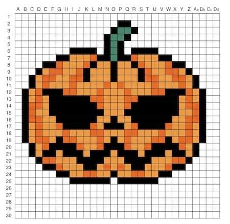 Disegno Di Zucca Di Halloween In Pixel Art Modello Da Stampare Bambini
