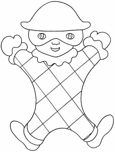 Arlecchino Facile Da Colorare Disegno Di Carnevale Per Bambini