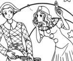 Arlecchino e Colombina da colorare